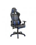 Žaidimų kėdė su galvos ir juosmens atrama, juoda/mėlyna