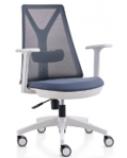 Biuro kėdė EDGE su reguliuojama juosmens pagalve, balta/pilka