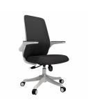 Biuro kėdė COMFORT su reguliuojamais porankiais, balta/juoda