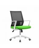 Biuro kėdė HOBEN su fiksuotais porankiais, balta/žalia/juoda