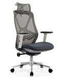 Biuro kėdė AEROX COMFORT WHITE su aukšta nugaros ir galvos atrama, balta/pilka