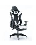 Žaidimų kėdė GAMESTER su galvos ir juosmens pagalvėmis, atrama kojoms juoda/balta
