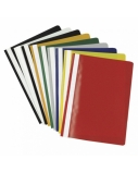 Segtuvėliai su įsegėle ir skaidriu viršeliu A4 raudoni, pakuotėje 25 vnt