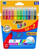 BIC Spalvoti flomasteriai KIDS COULEUR 12 spalvų rinkinys 103226