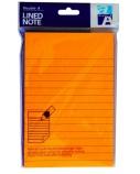 Double A Lipnūs lapeliai Neon Orange 150x101 mm, linijomis, 100 lapelių