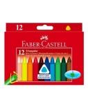 Vaškinės kreidelės Faber-Castell, Jumbo tribriaunės, (12)  1303-003