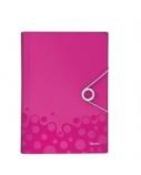 Aplankas-kartoteka su gumele Leitz WOW, A4, plastikinis, rožinis, 6 skyrių  0816-102