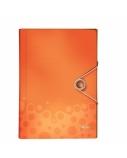 Aplankas-kartoteka su gumele Leitz WOW, A4, plastikinis, oranžinis, 6 skyrių  0816-104