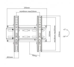 Pasukamas LED/LCD TV laikiklis, juodas VESA: 75x75,100x100,200x100,200x200
