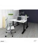 """Stok-sėsk tipo stalas """"Up Up"""", aukštis reguliuojamas elektra, juodas rėmas, 2 varikliai, 1500x750x25mm, baltos spalvos"""