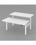 Dvigubas Reguliuojamo aukščio Stok-Sėsk stalas, elektrinis, 3-sekcijų juodu rėmu,