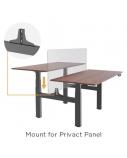 """Dvigubas stok-sėsk tipo stalas """"Up Up"""", aukštis reguliuojamas elektra, 3 sekcijų, juodu rėmu, stalviršis 1500x750x25mm, tamsaus riešuto"""