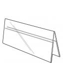 Stalo kortelė 150/75x210 mm, A5, dvipusė, skaidri, akrilas 2 mm (palapinė)  0614-053