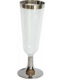 Duni Vienkartinės taurės šampanui 150 (100) ml, skaidrios/sidabro spalvos, PS, max +100°C, (12 vnt x 12 vnt.)