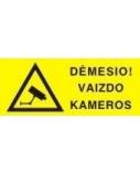 Lipdukinis ženklas Dėmesio Vaizdo kameros, ženklas ir užrašas, 50mm x 150mm  0616-017