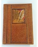 Užrašų knygelė 20 x 14.5 cm, Plunksna, ruda, odinė  1614-058