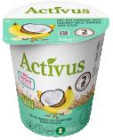 """Greitai paruošiama avižų-rugių su kokoso pienu,  bananais ir sėklomis košė su persikais """"Activus"""" indelyje, 16 pak. po 55g"""