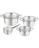 TEFAL Simpleo Set of pots, 4 pots + 3 pot lids B907S774 1.45/ 2/ 2.77/ 4.8 L, 16/ 18/ 20/ 24 cm, Stainless steel, Stainless steel, Dishwasher proof, Lid included