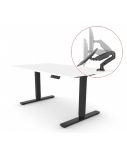 Reguliuojamo aukščio stalas Up Up, juodu rėmu, elektrinis 1 varikliu reguliuojamas aukštis, 2-sekcijų, baltas stalviršis (LMDP) 1500x700mm ir monitoriaus laikiklis dovanų