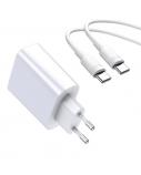 Sieninis įkroviklis Baseus USB+USB-C, greitas įkrovimas QC4.0, PD3.0, SCP, FCP, AFC,  30W, baltas