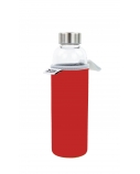 Yoko Design Glass Bottle with sleeve 1646 Red, Capacity 0.5 L, Dishwasher proof, Bisphenol A (BPA) free