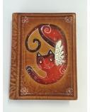 Užrašų knygelė 13.5 x 10 cm, Katinas, ruda, odinė  1614-056
